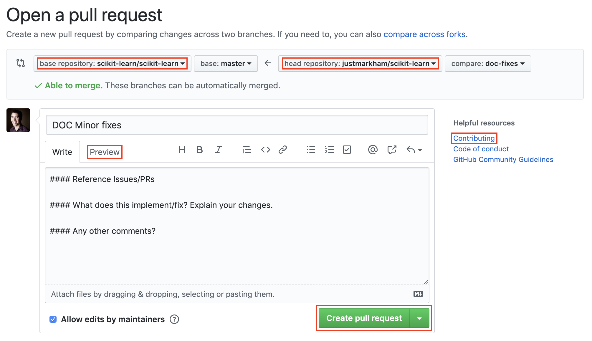 Opening a GitHub pull request