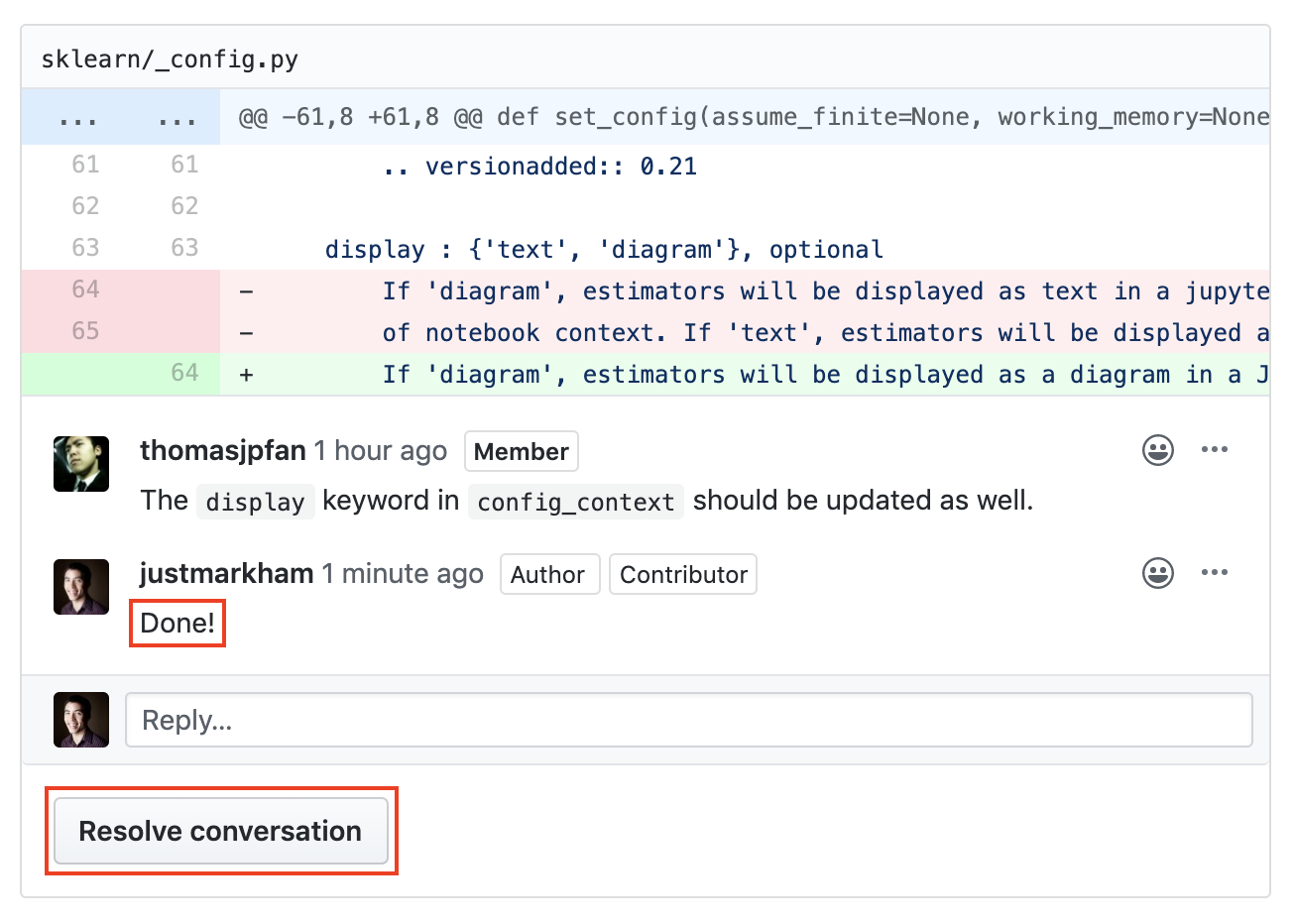 Replying to inline commit comments